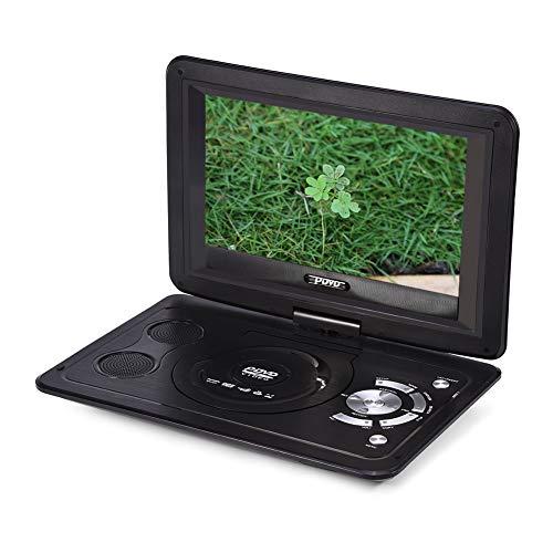 13.9inch Tragbarer DVD-Player, drehbares HD Display Auto Ferseher Unterstützt USB/SD Slot, AV Out/IN, Spiele-Joystick,mit Auto-Ladegerät und Stromadapter (Für EU