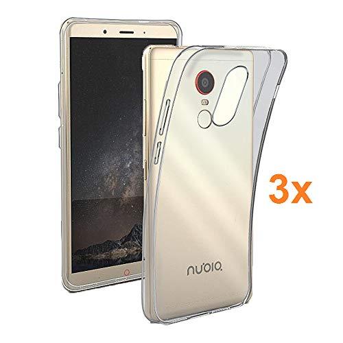 Pack 3X Transparente Silikonhülle TPU für ZTE Nubia Z11 MAX, Handyhülle Premium Kratzfest TPU Durchsichtige Schutzhülle, Ultradünne 0,33 mm, Elektronik König®