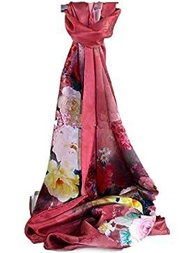 Gexing De Las Mujeres únicas Bufandas Florales: Gasa Flores Y Bufanda Impresa