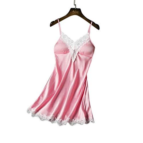 Strung♛1Set Frauen sexy Satin Dessous Riemen Babydoll Unterwäsche, Plus Size Strumpfhosen Erotische Spitzen Nähen Unterkleid Nachtwäsche Reizwäsche Nachthemd Reizkleid Schlafanzug Set