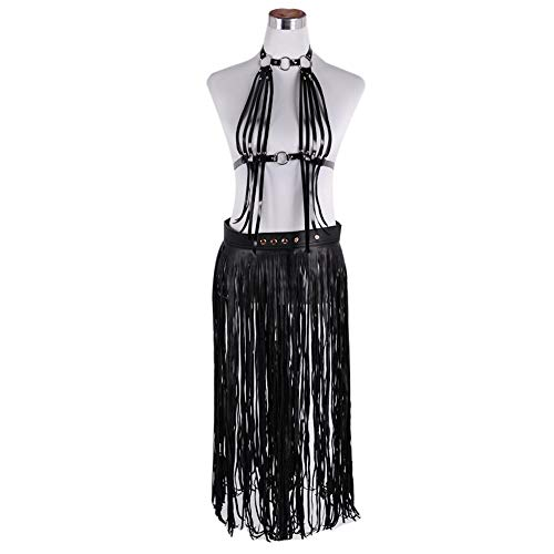 Körpergeschirr Frauen Einstellbare PU Leder Körper Brustgurt Outfit Sets Halter Backless Quasten Caged Bh Tops mit langen Fransen Quaste Taille Gürtel Rock Party Dance Bühne Performance Kostüme Beklei (Plus Rave-outfits Größe)