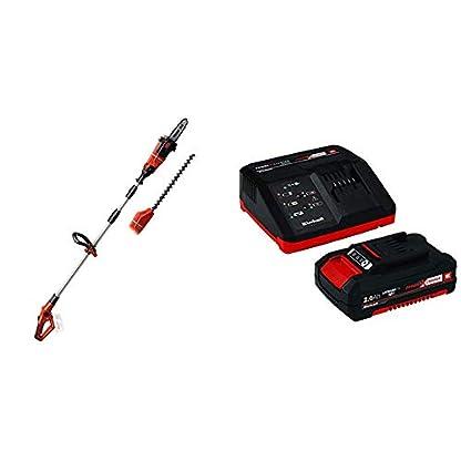 Einhell GE-HC 18 Li T-Solo -Pack con herramienta multifuncional sin cable, motosierra y cortasetos, mango telescópico + 4512040 Kit con Cargador batería de Repuesto, tiempo de carga: 30 Minutos