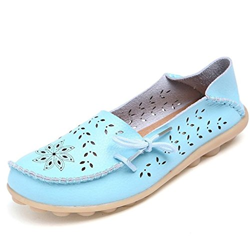 Oriskey Womens Summer Hollow Out Carving Leather Casual Loafers Flat Boat Shoes Driving Sandals Sky Blue Size 5