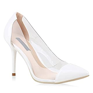 Damen Pumps Spitze Pumps Lack Transparent Stiletto High Heels Schuhe 144896 Weiss Brooklyn 39 | Flandell®