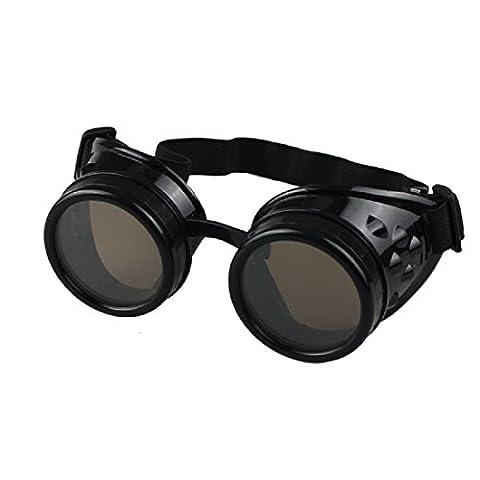Xiahbong Exquisite Vintage Goth Style Steam Goggles Schweißen Punk Gläser Cosplay (Schwarz)