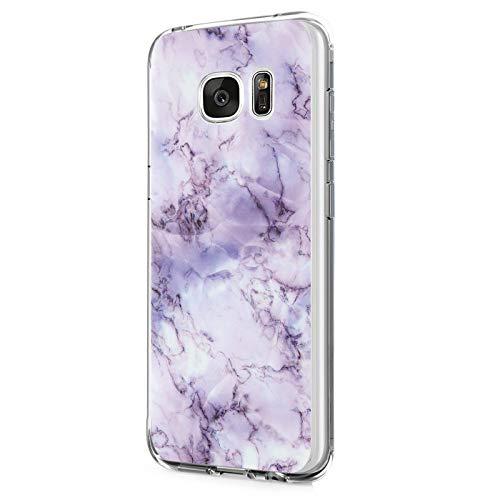 Case kompatibel mit Samsung Galaxy S6 Hülle,Galaxy S6 Edge / S6 Edge Plus Schutzhülle silicone Handyhülle Soft Marmor Cover Rückschale Blume Rosa Gold Schutz Shockproof Handytasche(5, S6 Edge)