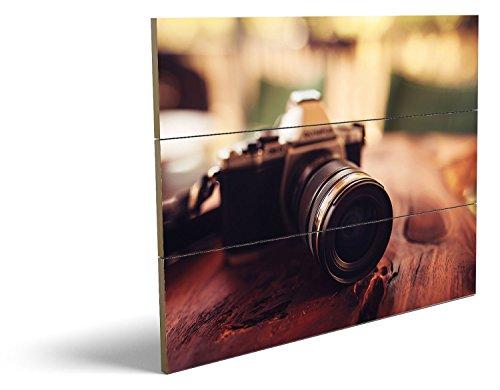 Vintage Kamera, qualitatives MDF-Holzbild im Drei-Brett-Design mit hochwertigem und ökologischem UV-Druck Format: 80x60cm, hervorragend als Wanddekoration für Ihr Büro oder Zimmer, ein Hingucker, kein Leinwand-Bild oder Gemälde