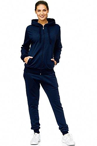 Damen Jogging-Anzug | Uni 586 | Trainings-Anzug aus 100% Baumwolle | Trainings-Jacke mit Reißverschluss | Jogging-Hose mit Tunnelzug und Zugband | Sport-Anzug mit Rippstrickbündchen | S-3XL (L, Navy)