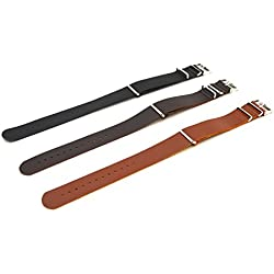 Leather Military Thread Through Nato Design Watch strap