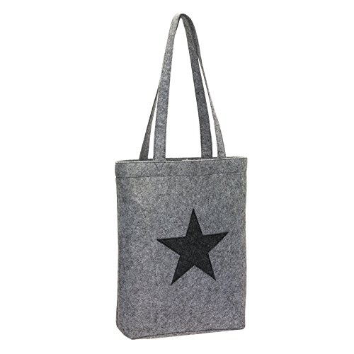 Felt Bag Felt Fabric Bag Shopper Bag Shopping Basket Grey with Star