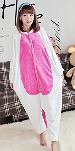 DEHANG - Adulte Unisexe Animal Costume Cosplay Combinaison Pyjama Outfit Nuit Flanelle - Licorne Rose - Taille M