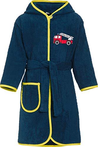 Playshoes - Kinder Frottee Feuerwehr, Jungen Bademantel ,Blau (Marine 11), 98/104 (3-4 Jahre)