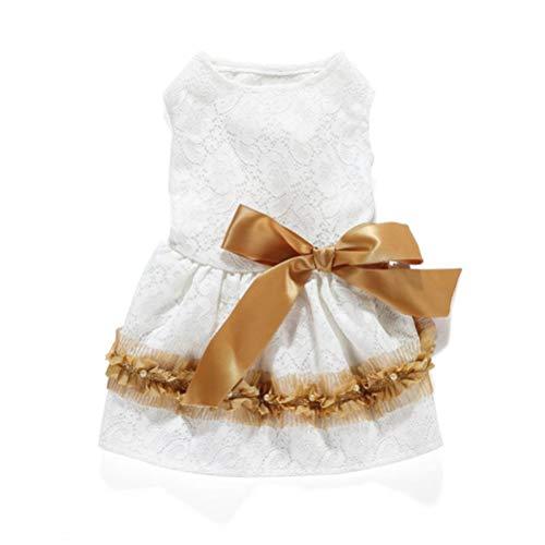 Feidaeu Haustier-Kleidungs-Kleid-Blumen-Kleid-Eleganter Blumendruck-Bogen-Band-Welpen-Chihuahua-Prinzessin Rock-KostüM (Disney Prinzessin Bögen)