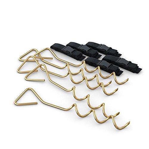 Ampel 24 XXL Deluxe Erdanker Set mit verstellbarem Gurt | 5 Bodenanker zur Sicherung bei Wind | Bodenanker mit verstellbarem Gurt | Bodenverankerung zum Eindrehen