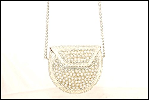 Ethnic Arts A Beautiful Pearl Work Designer Clutch Bag & Purse (Metal Pearl Purse S) (Handle Chain Clutch)