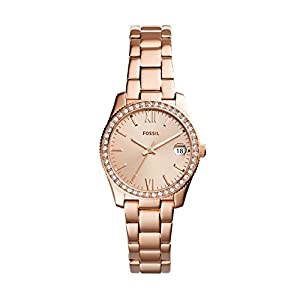 Fossil Damen Analog Quarz Uhr mit Edelstahl Armband ES4318