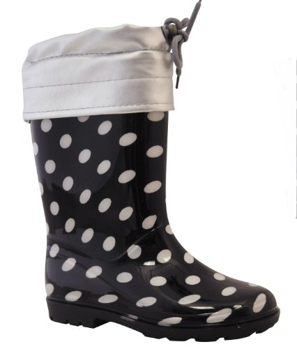 Junior and Infant Girls Dark Navy and White Spot Fleece Lined Welly with Tie Top