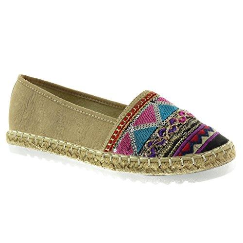 Angkorly - Damen Schuhe Espadrilles Mokassin - Slip-On - Sneaker Sohle - Bestickt - Glitzer - Fantasy Flache Ferse 2.5 cm - Beige YX-24 T 40 - Bestickte Sneakers