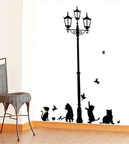 Wuyyii Neue Heiße Freche Katzen Vögel Und Straßenlaterne Lampe Post Wandaufkleber Dekoration Schulzimmer Kindergarten Wandaufkleber