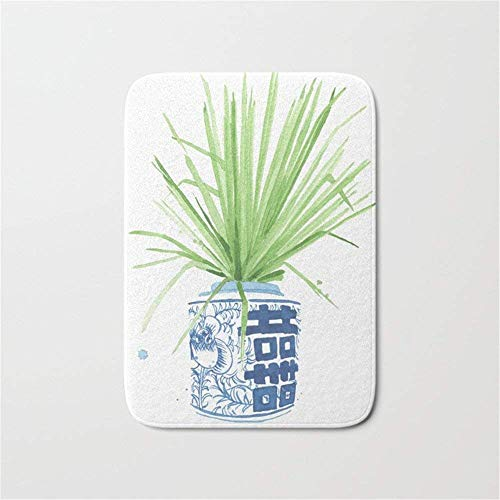 ziHeadwear Ginger Jar + Fan Palm Doormat Bath Door Mat (15.7 x 23.6 Inches) Floral Ginger Jar