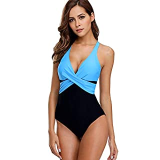 Lever Damen Bademode Einteiler Badeanzug Elegant Monokini Formend Badeanzug mit Softcups Schwarz Aqua M Gr. 38