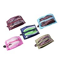FISHSHOP Shoe Bag Shoe Storage Portable Travel Shoes Organizer Bags Set of 5 Dust-proof Breathable Travel Transparent Window Space Saving Shoes Storage Bags