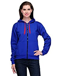 Scott Womens Premium Rich Cotton Pullover Hoodie Sweatshirt with Zip -�Royal Blue
