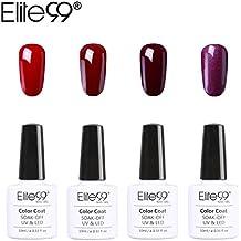Elite99 Esmalte Semipermanente Esmalte de Uñas Gel UV LED 4pcs Kit de Manicura Color Serie de Rojo Vino Burdeo Soak off 10ml - Kit 029