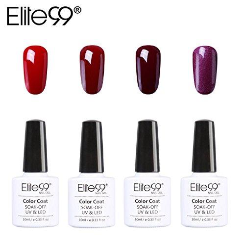 Elite99 Vernis semi-permanent Gel Vernis à Ongles Gel UV LED couleur série de rouge vin Burdeo Soak Off 10 ml Kit 029