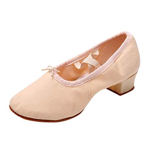 BHYDRY Scarpe Donna Dancing Rumba Valzer Ballo Liscio Ballo Latino Balletto Singles Scarpe(37 EU,Beige)