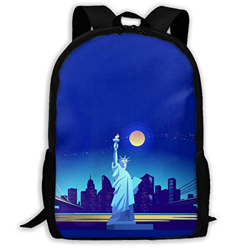 City Night Landscape with Statue of Liberty Fashion Travel Rucksäcke Leichte Rucksäcke Laptop Rucksack Schultertasche für Männer/Frauen
