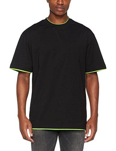 Urban Classics TB029A Herren T-shirt Bekleidung Contrast , Mehrfarbig (Blk/Lgr 35)