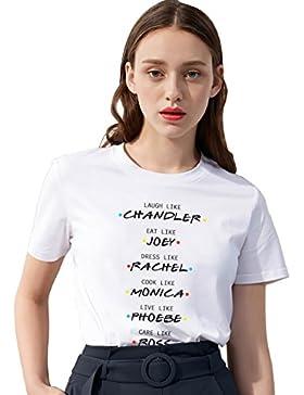 Pareja Camiseta Camiseta Friends TV Show Fan Logo Shirt Mejor Amiga Impresión T-Shirt Best Friend para Mujer Verano...