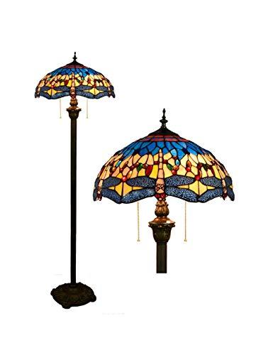 KCoob Stehleuchte Sea Blue mit Libelle Muster für Wohnzimmer Natural Night Light Vintage Barock Pull-Kette