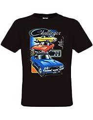 Ethno Designs Dodge Challenger - T-Shirt voitures américaines muscle car pour Hommes - regular fit