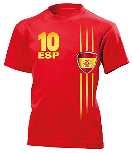 Spanien Fan Streifen 3211 Fussball Kinder Fanshirt Fun-T-Shirts Rot 122