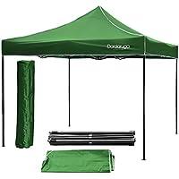 Cenador plegable, 3x 3m, plegable, de tipo acordeón, para ferias, pérgolas, con bolso, color verde