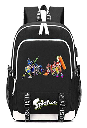 Cosstars Splatoon Jeu Backpack Sac à Dos pour Ordinateur Portable avec Port de Chargement USB et Prise Casque /2