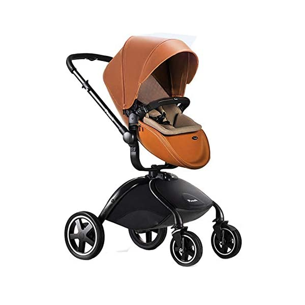 Baby Stroller, Foldable Lightweight EU Baby Doll Stroller, Leather Baby Trend Jogging Stroller for Baby Infant Newborn Baby (Color : Coffee) AEQ ●BABY ALIVE STROLLER TWO-WAY IMPLEMENTATION:enhance baby comfort baby stroller fan, check the baby at any time, family is more assured. ●5+1 SECURITY PROTECTION: for baby stroller five-point seat belt + armrest hatch protection, all-round coverage to protect the baby's key parts, baby pram stroller strictly slip away. ●ENJOY THE SUN WITHOUT SUNBURN: Baby strollers are made of natural natural fabric and bottom PT film. They have excellent rebound and stretchability, and they can maintain a smooth and beautiful appearance after many times of folding. With authoritative certification, it can isolate more than 95% of ultraviolet rays, meet the travel needs of the baby in different time periods, and resist the sun glare. Baby stroller toy protects the baby's delicate skin. 2