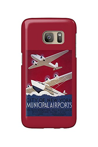 Municipal Airport (New York City Municipal Airport - Vintage Travel Poster (Galaxy S7 Cell Phone Case, Slim Barely There))