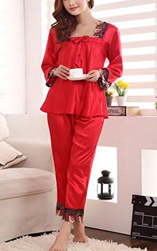 sunjune Damen Satin Seide Lange Ärmel Nachtwäsche Nachtwäsche Pyjama Set Mehrfarbig - Rot