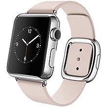 Apple Watch Edelstahl Smartwatch , Größe :38 mm Gehäuse, Armband:Leder - Modern, Armbandfarbe:Pink - M (145-165mm)