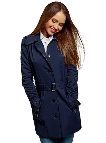 oodji Collection Damen Einreihiger Trenchcoat mit Kunstlederbesatz, Blau, DE 34 / EU 36 / XS