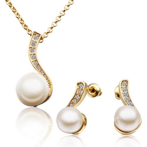 MARENJA Moda-Regali San Valentino-Parure Perle Collana e Orecchini Donna Placcato Oro Cristallo