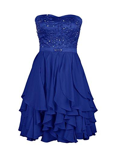 Dresstells Damen Kleider Chiffon Knielang Cocktailkleid mit Rüschen DT90505 Royalblau