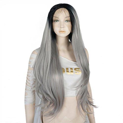 "24""Lace Front Wig Perücke Ladieshair Locken/Gewellt Fasching Mixed Grau"