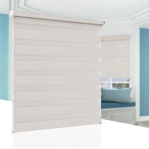 BelleMax Raffrollo ohne Bohren Doppelrollo Klemmfix Rollos für Fenster Klemmrollo Verdunkelung und Lichtdurchlässig 75x150 cm Leinen
