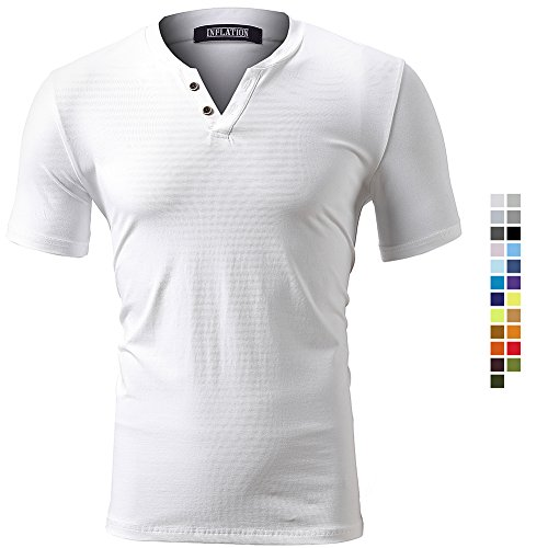 INFLATION Men's Basic T-Shirt Summer Spring Casual Crew V-Neck Cotton Tshirts Plain Short Sleeve Regular Fit Tee Top, 23 Colours