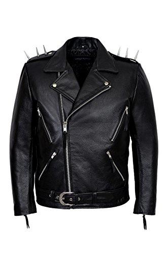 Smart Range Herren Ghost Rider Film schwarz Casual Real Hide Biker Motorrad Leder Jacke Gr. Medium, schwarz Ghost Leder