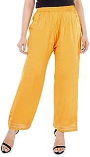 BANAS Women's Gota Lace Loose Fit Palazzo Pants (Yellow)